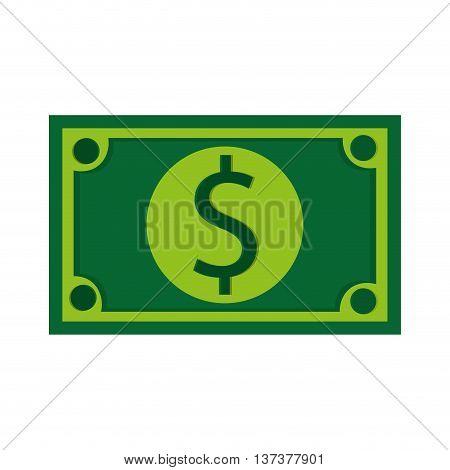simple flat design green dollar bill icon vector illustration