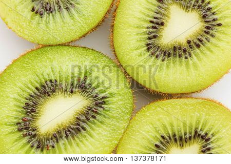 Close Up Kiwi Fruits And Slice Kiwi Fruits Isolated On White Background