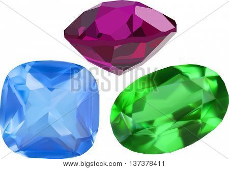 illustration with gems isolated on white background