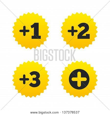Plus icons. Positive symbol. Add one, two, three and four more sign. Yellow stars labels with flat icons. Vector