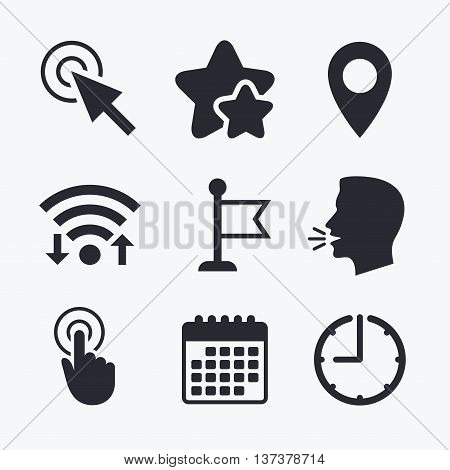 Mouse cursor icon. Hand or Flag pointer symbols. Map location marker sign. Wifi internet, favorite stars, calendar and clock. Talking head. Vector