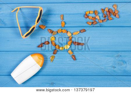 Shape Of Sun With Word Sun Made Of Amber Stones And Accessories For Vacation, Copy Space For Text