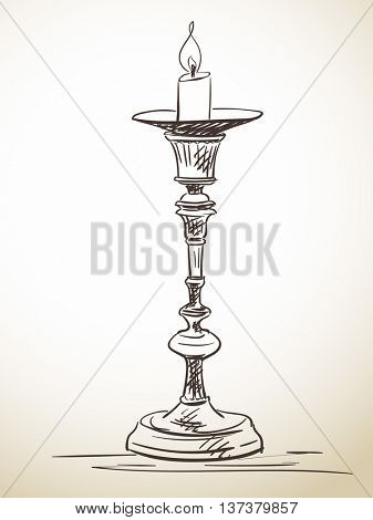 Sketch of candlestick, Hand drawn vector illustration