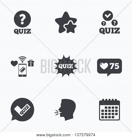 Quiz icons. Speech bubble with check mark symbol. Explosion boom sign. Flat talking head, calendar icons. Stars, like counter icons. Vector