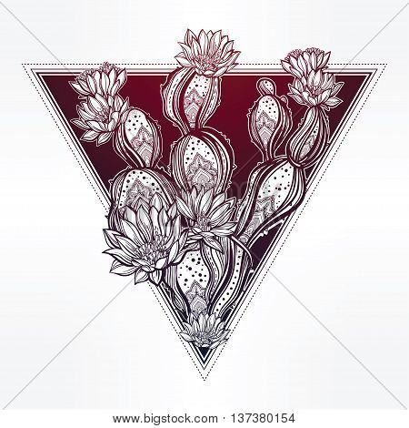 Drawing of with blooming cactus. Desert cacti art. Vector illustration isolated. Ethnic design, mystic tribal boho symbol. Blackwork tattoo flash, new school dotwork. Posters, t-shirts and textiles.