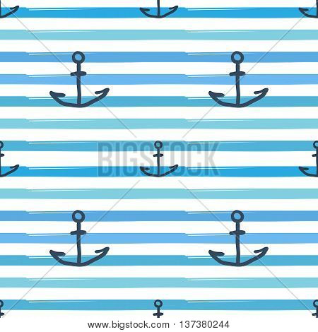 Sea Anchor Hand Drawn Frock And Waves Background Seamless Pattern Vector