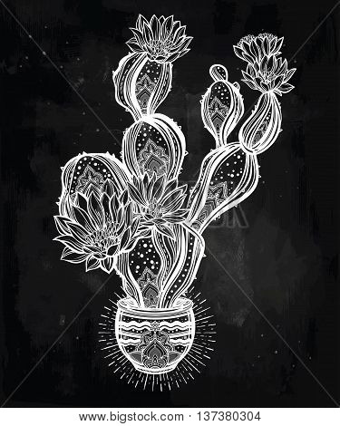 Drawing of flower pot with cactus. Desert spiritual cacti art. Vector illustration isolated. Ethnic design, mystic boho symbol. Blackwork tattoo flash, dotwork. Print, posters, t-shirts and textiles.