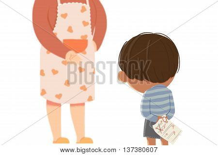 Get a Poor Grade. Creative Idea, Innovative art, Concept Illustration, Greeting Card Background, Cartoon Style Artwork
