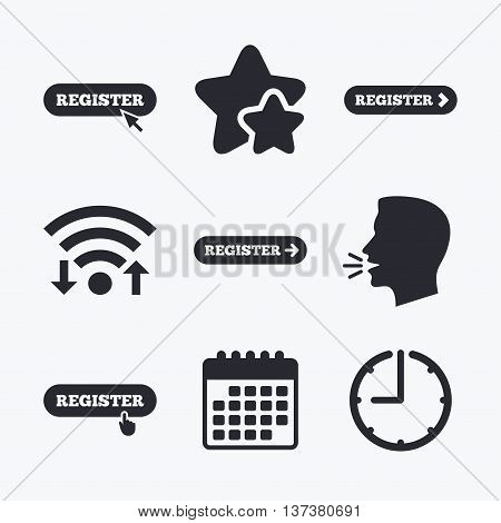 Register with hand pointer icon. Mouse cursor symbol. Membership sign. Wifi internet, favorite stars, calendar and clock. Talking head. Vector