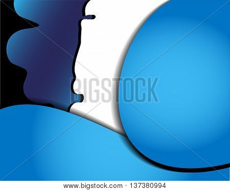 Blue vector background curve silver grey line on dark space overlap layer graphic for text and message modern artwork design
