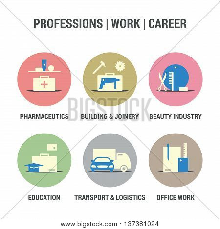 Icons set of professions, work, career area.