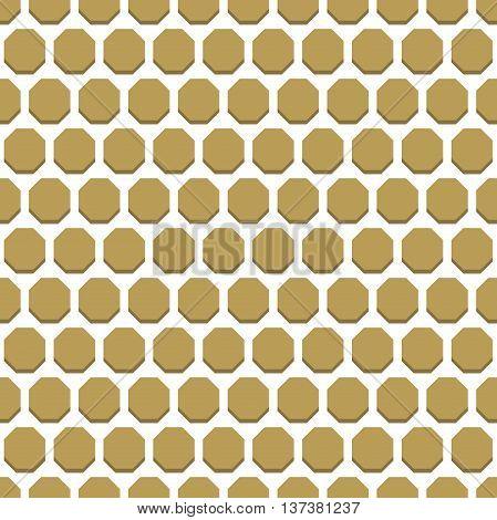 Geometric fine abstract octagonal golden background. Seamless modern pattern