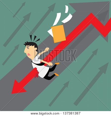 Business downtrend concept. business man with graph downtrend vector illustration.