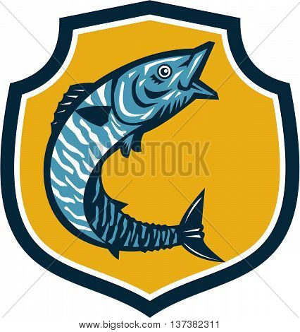 Illustration of a wahoo Acanthocybium solandri a scombrid fish jumping up viewed from the side set inside shield crest on isolated background done in retro style.
