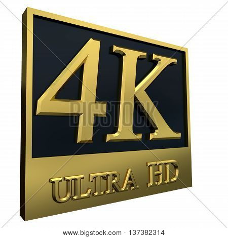 Ultra HD 4K icon isolated on white background, 3d illustration