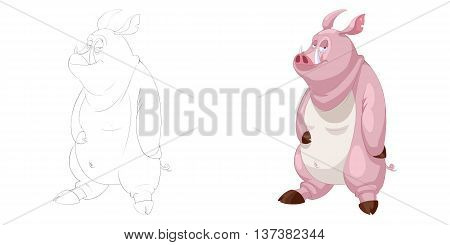 Fat Pig Hero. Coloring Book, Outline Sketch, Animal Mascot, Game Character Design isolated on White Background