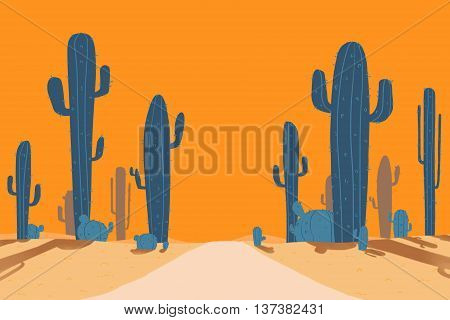 Cactus Road of Desert. Video Game's Digital CG Artwork, Concept Illustration, Cartoon Style Background