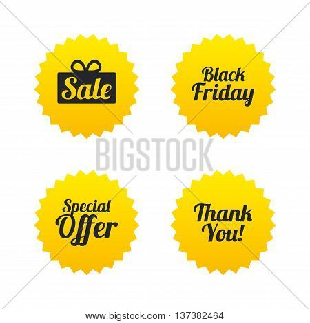 Sale icons. Special offer and thank you symbols. Gift box sign. Yellow stars labels with flat icons. Vector