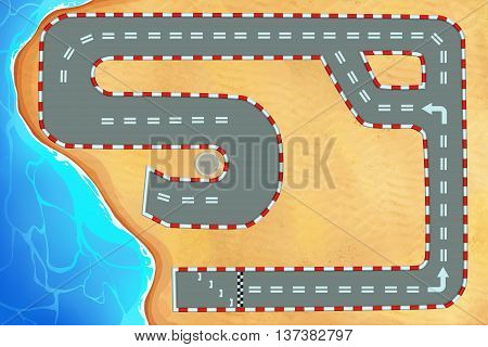 Creative Illustration and Innovative Art: Racing Track around the Beach, Landscape Mode, Top View. Realistic Fantastic Cartoon Style Artwork Scene, Wallpaper, Story Background, Card Design