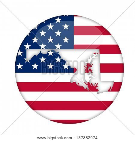 Maryland state of America badge isolated on a white background.