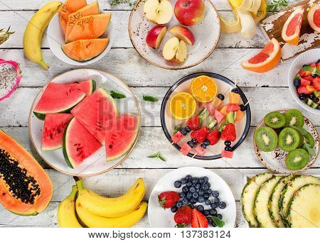 Fresh Fruits Background. Healthy Food.
