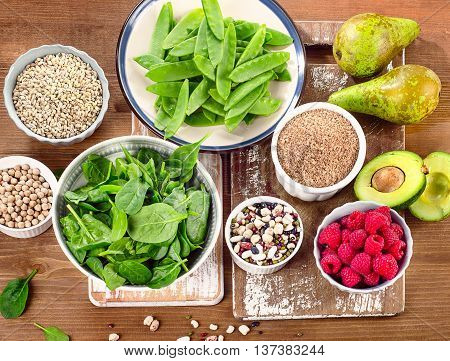Fiber And Carbs Rich Foods On A Wooden Board. Healthy Diet Eating.