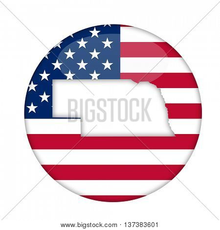 Nebraska state of America badge isolated on a white background.