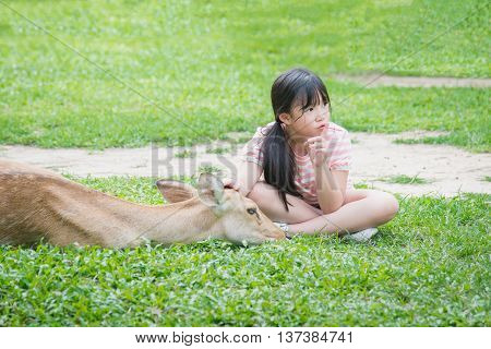 Beautiful Asian girl consolating antelope in the park