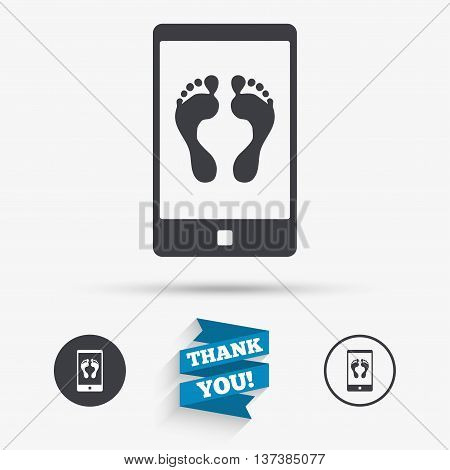 Selfie legs sign icon. Self feet photo on smartphone symbol. Flat icons. Buttons with icons. Thank you ribbon. Vector