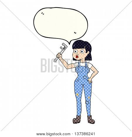 freehand drawn comic book speech bubble cartoon female plumber