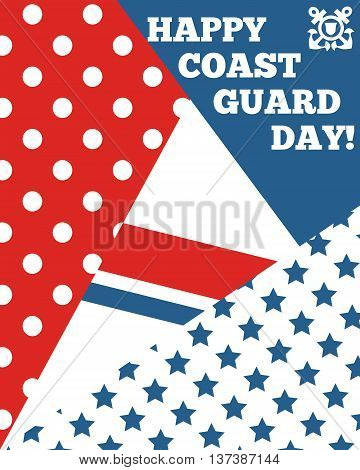 Bright greeting card for Coast Guard day. Vector banner for coast guard. Geometrical coast guard background
