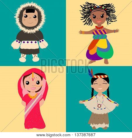 Kids from different countries in national clothes. Vector illustration.