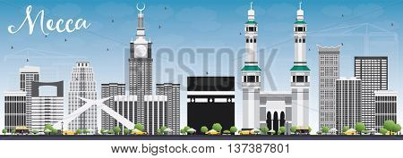 Mecca Skyline with Landmarks and Blue Sky. Vector Illustration. Travel and Tourism Concept with Historic Buildings. Image for Presentation Banner Placard and Web Site.