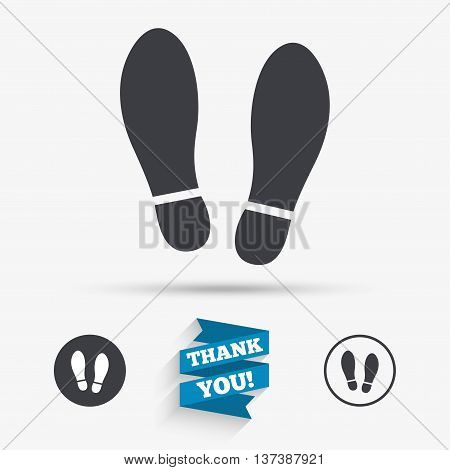 Imprint soles shoes sign icon. Shoe print symbol. Flat icons. Buttons with icons. Thank you ribbon. Vector