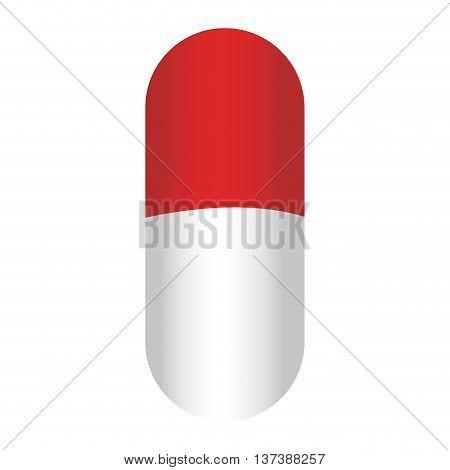 simple flat design capsule pill icon vector illustration