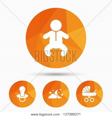 Moon and stars symbol. Baby infants icon. Buggy and dummy signs. Child pacifier and pram stroller. Triangular low poly buttons with shadow. Vector