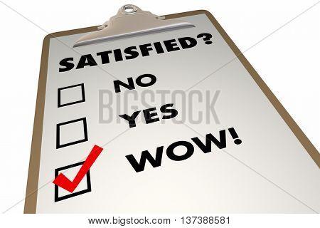 Satisfied Customer Satisfaction Index Survey Checklist 3d Illustration
