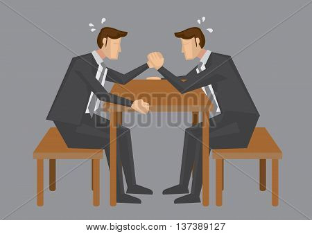 Two cartoon business executive trying hard to win each other in arm wrestling. Vector illustration isolated in grey background.