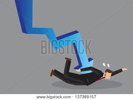 Cartoon business professional pinned on the floor by a large declining arrow. Vector illustration on concept of suffering under business or stock market crisis isolated on grey background.