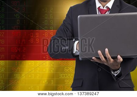 concept of Germany Flag stock market ticker.