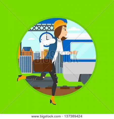 Latecomer woman running along the platform to reach the train. Woman with briefcase chasing a train. Woman at the train station. Vector flat design illustration in the circle isolated on background.