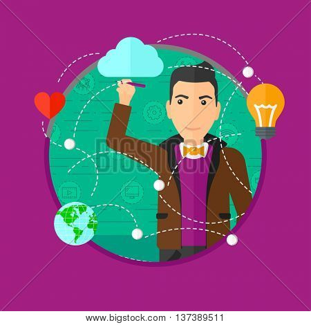 Young man writing on a virtual screen. Businessman drawing a cloud computing diagram on a virtual screen. Cloud computing concept. Vector flat design illustration in the circle isolated on background.