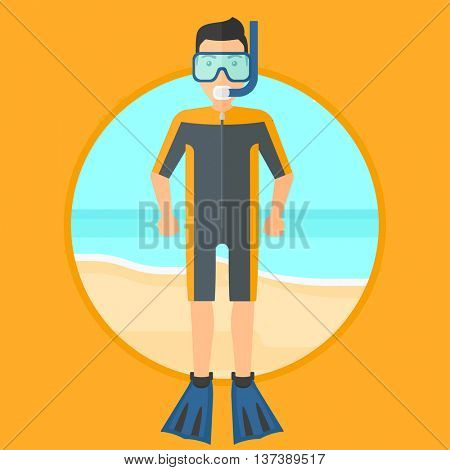 Man in diving suit, flippers, mask and tube standing on the beach. Male scuba diver on the beach. Young man enjoying snorkeling. Vector flat design illustration in the circle isolated on background.