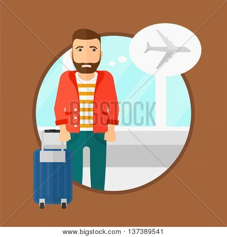 Hipster man with the beard frightened by future flight. Young man suffering from fear of flying. Phobia, fear of flying concept. Vector flat design illustration in the circle isolated on background.
