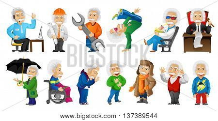 Vector set of gray-haired old man working as technical support operator, engineer, plumber, judge. Old man dancing, watching movie, showing tongue. Vector illustration isolated on white background.