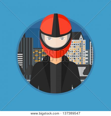 Young biker standing on the background of night city. Woman in biker helmet and leather jacket. Vector flat design illustration in the circle isolated on background.