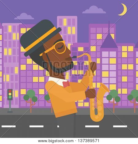 An african-american man playing saxophone on a night city background vector flat design illustration. Square layout.