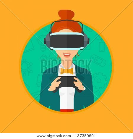 Young woman wearing a virtual reality headset. Smiling woman playing video games with a wireless game controller in hands. Vector flat design illustration in the circle isolated on background.