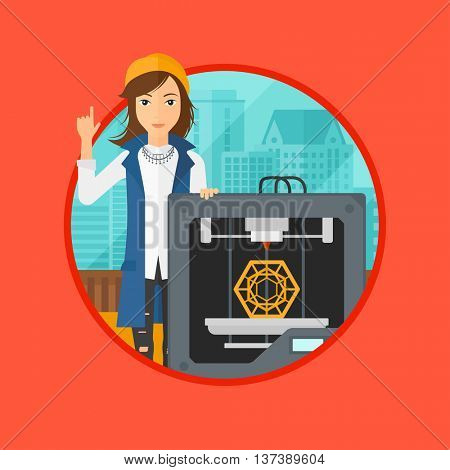 Young woman standing near 3D printer and pointing forefinger up. Engineer using a 3D printer. Woman working with 3D printer. Vector flat design illustration in the circle isolated on background.