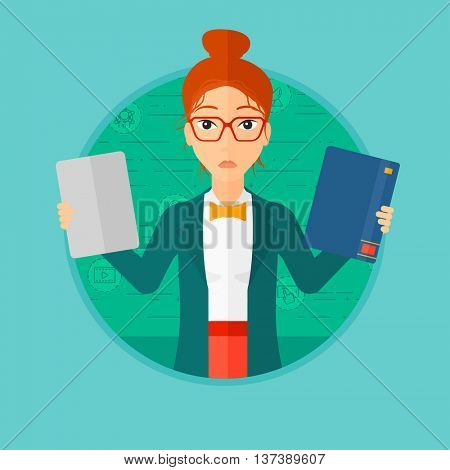 Confused woman choosing between tablet computer and paper book. Woman holding book in one hand and tablet computer in the other. Vector flat design illustration in the circle isolated on background.